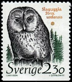 Sweden - Ural Owl (Strix uralensis), designed by Ingalill Axelsson, engraved by Lars Sjööblom, and issued on January 31, 1989