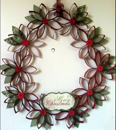 Paper tube wreath - just need to get some revs buttons - so cute!