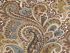 Blue, green and ivory paisley print...great for curtains or pillows.