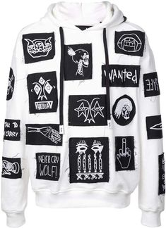 White cotton Stabat patch hoodie from Haculla featuring long sleeves, a drawstring hood, a ribbed hem and cuffs and all-over patch details. Designer Jackets For Men, Mens Designer Brands, Destroyed T Shirt, Embroidered Bomber Jacket, Future Clothes, Quote Aesthetic, Aesthetic Outfit, Aesthetic Clothes, White Hoodie