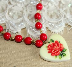 Roses in my heart fresh romantic vintage red rosary necklace