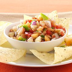 This fruity and spicy salsa combines chile peppers, cantaloupe, apples, and sweet pepper for a quick and easy appetizer.