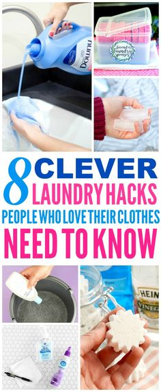 These 8 Laundry Hacks are the THE BEST! I'm so happy I found these GREAT tips! Now I have some great ways to save money and time and fix clothing! Definitely pinning!