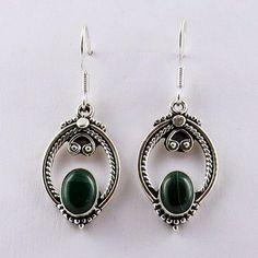 Maya Inspiration !! Malachite 925 Sterling Silver Earring, Wholesale Silver Jewelry, Silver Jewelry Exporter