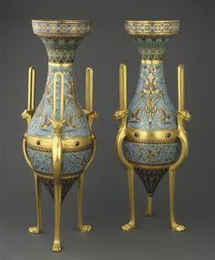 Ferdinand Barbedienne and Constant Sevin, pair of vases exhibited at the World's Fair of Orsay Museum, Paris. Architectural Antiques, Glass Ceramic, World's Fair, Objet D'art, Art Object, French Artists, Ancient Art, Wood Art, Metal Working