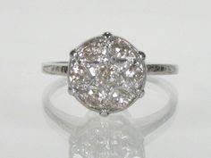 Retro Era Diamond Dome Engagement Ring - 0.42 Carats Diamond Total Weight. $645.00, via Etsy.