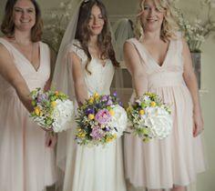 Pretty Stylish Pastel Wedding Peony Hydrangea Craspedia Bouquets http://www.dylannoltephotography.com/