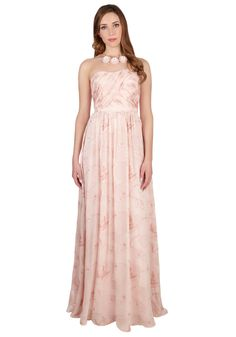 Perfumed in Elegance Dress. The rosewater hue, ruched bodice, and blossoming pattern of this floor-length dress by Erin Fetherston is so beautiful, it nearly inspires a sweet aroma. #pink #prom #modcloth