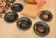 Set of 5 Japanese Lacquered Sauce Dishes  Circa 1950s by DLDowns, $48.00