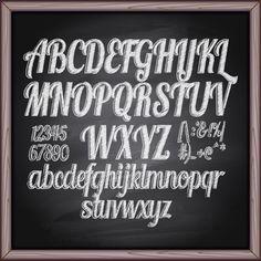 free chalkboard font alphabet   Alphabet with numbers and chalkboard vector 02 - Vector Font free ...