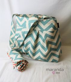 Emma Large Diaper Bag and Changing Pad Messenger in Blue Chevron with Elastic Pockets Adjustable Strap Custom