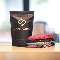 Sock Fancy | new packaging | sock packaging | custom printed black stand up pouch | curated by Copious Bags™