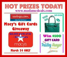 We're giving away awesome prizes!!!   Coach Purse Giveaway ends tonight! 10,000 worth of Macys GC (300 winners) will be given away today only  We have new $100 GC to The Paisley Hanger giveaway  http://madamedeals.com/contests/  #inspireothers