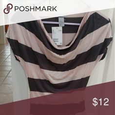 NWT! H&M Striped Top Short sleeved and form fitting. Light pink and charcoal grey and oh so cute! H&M Tops Tees - Short Sleeve