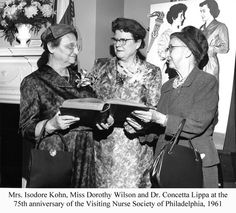 Mrs. Isodore Kohn, Miss Dorothy Wilson, and Dr. Concetta Lippa at the 75th anniversary of the Visiting Nurse Society of Philadelphia, 1961. Image courtesy of the Barbara Bates center for the Study of the History of Nursing.