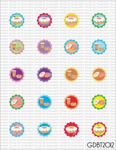 Doughnuts Digital Image Sheet for 1 Inch Bottlecaps Personal and Commercial Use graphicdesignbytara - Craft Cafe