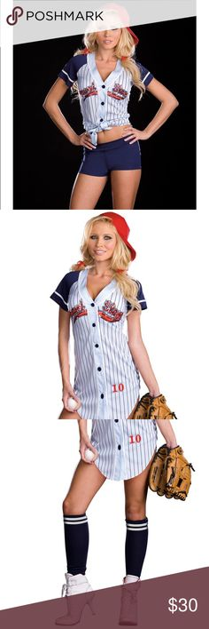 Sexy baseball player 4 piece Halloween costume New in package! Sexy baseball player 4 piece Halloween costume. Comes with baseball shirt dress, booty shorts, hat, and socks. Can be worn two ways either as a dress or as a tie up shirt. Please note that I did not wear the dress, shorts, or hat, but I did wear the socks and they have some wear on the soles. Size small. Please use the offer tool for offers and not in the comments. I'm not interested in trading. Dresses