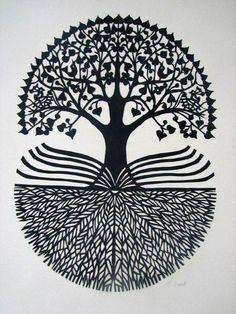 Tattoo Symbols and What They Mean Tree Of Life Art, Tree Art, Kirigami, Frida Art, Madhubani Painting, Symbolic Tattoos, Indian Art, Paper Cutting, Zentangle