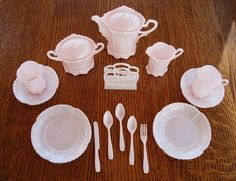 1950s Pink Banner Toy Dishes Tea Set by CarolsCupboard on Etsy, $24.00