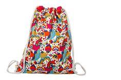 Turnbeutel - Turnbeutel - Rucksack - Festivalbag - Retro - ein Designerstück von gemengsel bei DaWanda