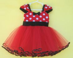 red MINNIE MOUSE dress  with TUTU  Party Dress  in Red Polka