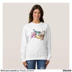 Bird and crystals sweatshirt (Affiliate Link)  #FlowerWomensSweater #SuéterDeMujerFlor #BlumenDamenPullover #FleurWomensPull