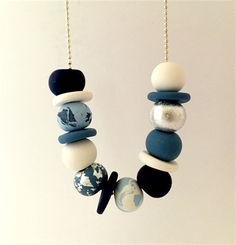 Multi Blue Polymer Clay Necklace