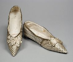 Pair of Woman's Shoes England, 1793-1798 Costumes; Accessories Silk satin with sequins and metallic passementerie, and leather Overall: 2 1/...