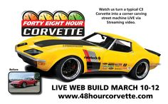 This is the week! RideTech's amazing 48 Hour Corvette project starts tomorrow (Tuesday, March 10) at 8:00am ET. We're excited to be part of this project, we'll be following all of the live online coverage, and we'll even be making a midweek trip to RideTech's shop to witness the completion of the project. This is going to be cool! Be sure to catch all of the live coverage and tech details for yourself at: http://www.48hourcorvette.com/  #48HourCorvette
