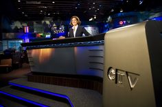 CTV's Lisa LaFlamme at her new desk on the night of her debut as chief anchor.