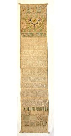 English Band Sampler ~ unknown embroiderer ~ circa 1601-circa 1701 ~ Fitzwilliam Museum Collections ~ Linen mixed band sampler embroidered with polychrome silks in running, double running, cross, Montenegrin cross and with some speckling stitch. Linen thread is worked in double hem, counted satin, and square filling stitch with buttonhole bars, pulled work, cut and drawn work with hollie point and needle lace filing stitches. Silver metal thread.