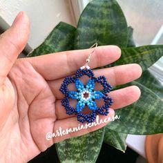 Beaded Earrings, Drop Earrings, Handmade Beaded Jewelry, Bead Jewellery, Blue Flowers, Etsy Seller, Etsy Shop, Beads, Crochet