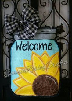 Sunflower on Mason Jar Burlap Door Hanger Decoration and Wreath Replacement, BLUE - Lilly is Love Burlap Mason Jars, Mason Jar Crafts, Mason Jar Diy, Burlap Crafts, Wooden Crafts, Diy Crafts, Burlap Wreaths, Tree Crafts, Fall Wreaths