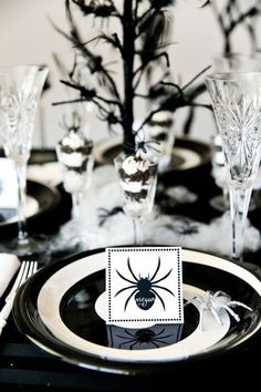 Chic Black & White Spider Dinner Party for Halloween!