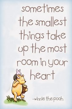 Sometimes the smallest things take up the most room in your heart.   Winnie the Pooh and Piglet.