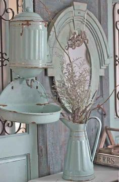 shabby chic items enamelware - Country Chic Decor