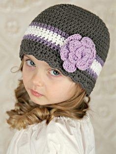 Gray, grape, white, & lavender striped flapper beanie flower hat – Two Seaside Babes Crochet Baby Beanie, Crochet Kids Hats, Crochet Toddler, Crochet Cap, Baby Hats Knitting, Crochet Beanie Pattern, Crochet Crafts, Crochet Projects, Crochet Patterns