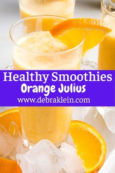 Exactly the frothy, slushy, creamy orange smoothie you remember from your childhood trip to the Orange Julius at the Mall....only BETTER! This healthy smoothie has no added sugar and is dairy-free...but still creamy, sweet and delicious. Not only that, but this vegan smoothie comes together in under 5 minutes. Yipee...orange julius for everyone! Excellent breakfast idea, healthy snack or refreshing evening treat! Healthy Juice Recipes, Healthy Summer Recipes, Healthy Juices, Vegan Recipes Easy, Free Recipes, Nutritious Snacks, Healthy Snacks, Healthy Habits, Vegan Smoothies