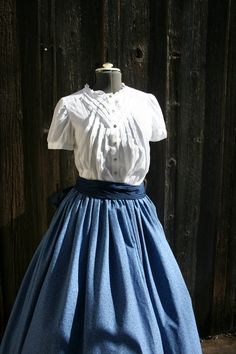 Victorian skirt with sash also for Civil War period or  Pioneer  treks. $40.00, via Etsy.
