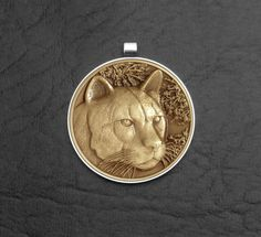 Cougar Mountain Lion Wildlife Coin in Stainless by GoodSpiritWolf