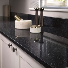 Bushboard Omega Worktop - Black Quartz in Higloss finish. Super stylish & slick, this worktop is modern and perfect for any household! Check it out, as well as the rest of the range, by visiting our website. Stylish Kitchen, Kitchen Interior, Kitchen Worktop, Laminate, Kitchen Fittings, Kitchen Diner, Laminate Worktop, Laminate Kitchen, Kitchen Inspiration Board