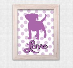 """Puppy Love 8""""x10"""" Art Print - Perfect for a little girls bedroom or nursery. by JbeeDesign on Etsy"""