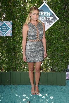 Who Wore It Better? Karla Souza vs. Ashley Benson in Michael Kors's Fall 2016 Embellished Chain Link Mini Dress
