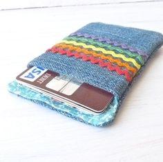 Gift Card Holder. Womens Fabric Credit Card Sleeve. Rainbow Ric Rac Cute Business Card Pouch. Vegan Hostess Teacher Gift