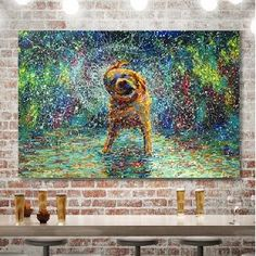 East Urban Home 'Shakin' Jake' Wrapped Canvas Print on Canvas Size: H x W x D Canvas Size, Canvas Art, Canvas Prints, Dog Washing Station, Painting Prints, Art Prints, Wall Art Pictures, Metal Wall Art, 5 D