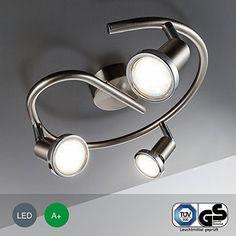 LED Lampe Leuchte Deckenleuchte Spot Deckenspot Inklusive Warmweiss Schwenkbar Metall Matt Nickel Mit Chromring Wohnzimmer 3 Flammig