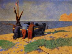 "post-impress-art: "" The Fourteenth of July at Etretat by Felix Vallotton Medium: oil on cardboard"""