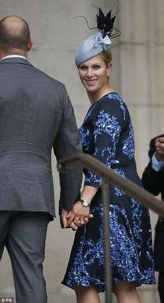 Family affair: Mike and Zara Tindall arrive at St Paul's Cathedral  for the national service of thanksgiving to celebrate the Queen's birthday 10 Jun 2016