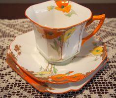 C 1933 Shelley Princess Shape Trio 12227 Yellow and Orange Poppies | eBay