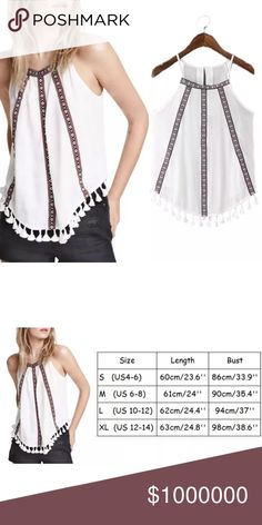 """Boho Tunic Style Flow Tank Shirt This gorgeous boho shirt is slightly sheer. White in color with beautiful red black and white embroidery. Non-stretch material. 100% polyester. Measurements from shoulder to bottom of shirt is 24"""". Measurements from armpit to armpit is 18"""". Size L. Tops Camisoles"""